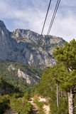 Cable car to the top of Mountain Ai-Petri. Ropeway in Yalta leading to the top of Ai-Petri mountain. Crimea, Ukraine stock photo