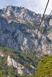 Cable car to the top of Mountain Ai-Petri. Ropeway in Yalta leading to the top of Ai-Petri mountain. Crimea, Ukraine royalty free stock image