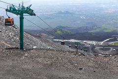 Cable car tot top of Mount Etna at Sicily, Italy stock image