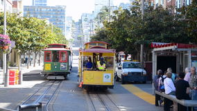 Cable car with tourists in San Francisco, USA, Royalty Free Stock Image