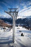 Cable-car tower in alps. Soelden, Austria Royalty Free Stock Photo