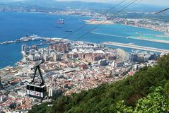 Cable car and town, Gibraltar. Royalty Free Stock Photo