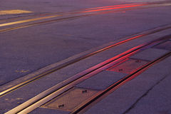 Cable car tracks at night Stock Images
