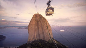 Cable Car Traffic at Sugar Loaf Mountain Royalty Free Stock Photos