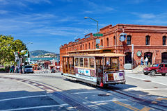 Cable Car Tram Powell-Hyde, San Francisco, United states. Cable Car Tram Powell-Hyde manually operated cable car system is famous tourist attraction, San Royalty Free Stock Photography