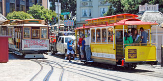 Cable car tram in San Francisco panorama, USA Royalty Free Stock Photo