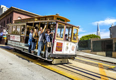 Cable car and Transamerica building in San Francisco Royalty Free Stock Images