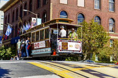 Cable car and Transamerica building in San Francisco Stock Image
