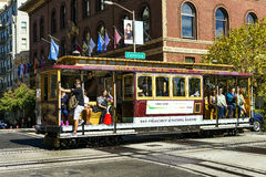 Cable car and Transamerica building in San Francisco Royalty Free Stock Photos