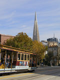 Cable Car and Transamerica Pyramid Building royalty free stock image