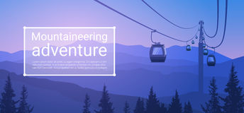 Cable Car Transportation Rope Way Over Mountain Hill Nature Background Banner With Copy Space Stock Image