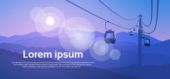 Cable Car Transportation Rope Way Over Mountain Hill Nature Background Banner With Copy Space Stock Photo