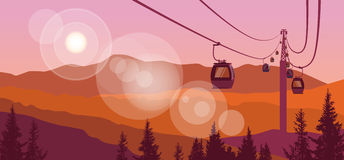 Cable Car Transportation Rope Way Over Mountain Hill Nature Background Banner With Copy Space. Flat Vector Illustration Stock Photography