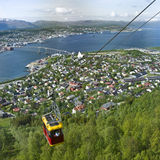 Cable car at Tromso, Norway. A view of a tram or cable car on the mountainside overlooking Tromso, Norway stock images