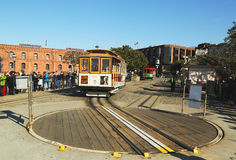 Cable car on turntable at Hyde and Beach Terminal in San Francisco. SAN FRANCISCO -MARCH 28: Cable car on turntable at Hyde and Beach terminal on March 28, 2013 Stock Photo