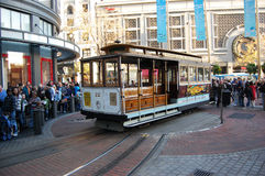Cable Car on turntable, San Francisco Stock Photos