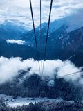 Cable Car Under White Clouds Royalty Free Stock Photos