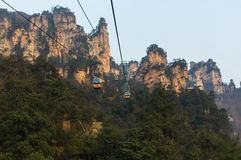 Cable car in the unreal mountains in China. National park Stock Photo