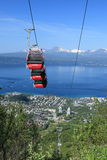 Cable car up Fagernesfjellet mountain, Narvik. Stock Image