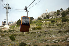 Cable Car up the Hillside at the Back of the Walled City of Dubrovnic in Croatia Royalty Free Stock Images