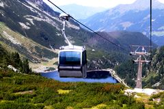 Cable car from Uttendorf to the Weissee on top of the mountain Royalty Free Stock Images
