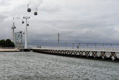 Cable car, Vasco da Gama Bridge and Torre Vasco da Gama, Lisbon, Royalty Free Stock Images