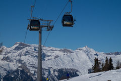 Cable car in Swiss Alps. Ski lift in Veysonnaz, Switzerland Stock Photo