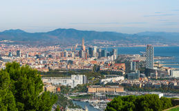 Cable car view of Barcelona city and coastline of Spain. Stock Photography