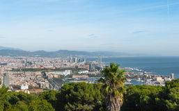Cable car view of Barcelona city and coastline of Spain. Royalty Free Stock Photography