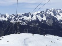 Cable car view from Chamonix to Aiguille du Midi mountain Royalty Free Stock Images