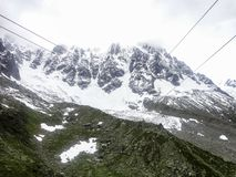 Cable car view from Chamonix to Aiguille du Midi mountain Stock Images