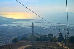 Cable car view of Trapani city in Sicily, Italy Stock Photos