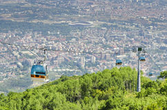 Cable car on Vodno mountain Royalty Free Stock Images