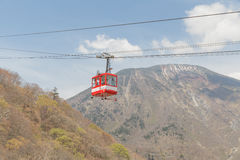 Cable Car. Way to mountains Royalty Free Stock Images