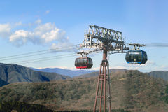 Cable car way to the mountains. Stock Photos