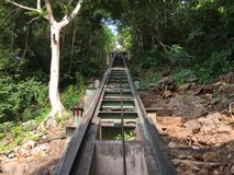 Cable car way up to the mountain at Khao Wang, Petchburi. Royalty Free Stock Image