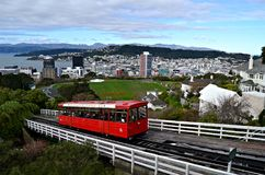 Cable car in Wellington, New Zealand royalty free stock photo