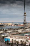 Cable car which overlooks the harbour in Barcelona Stock Photography