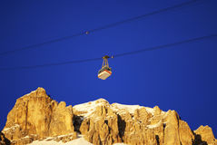 Cable car in the winter Royalty Free Stock Photo