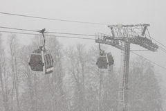 Cable car at winter Royalty Free Stock Photo