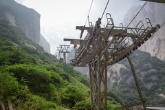 Cable Car on Yellow Mountain. Huangshan, China. Mount Huangshan Cable Cars royalty free stock photo