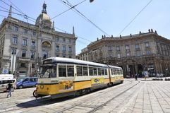 Cable care in the city center of milan. Normal life and rail tram in the city center of Milan Italy Stock Images