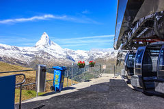 Cable cars Blauherd Station, Rothorn Paradise to Matterhorn in summer, Zermatt, Switzerland, Europe Royalty Free Stock Photography