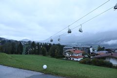 Cable cars. At the mountains, spring time Royalty Free Stock Image