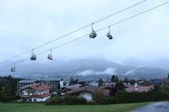Cable cars. At the mountains, spring time Stock Image