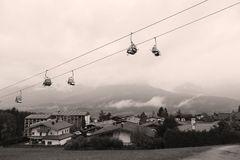 Cable cars. At the mountains, spring time Royalty Free Stock Images