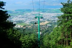 Cable cars carry people to the summit of Mount Cangshan. In Dali, Yunnan, China Stock Photo