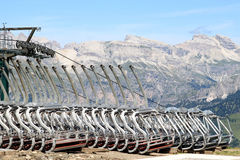 Cable cars upon the Col Rodella, Italian Dolomites stock images