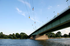 Cable cars cross the Rhine in Cologne, Germany stock photos