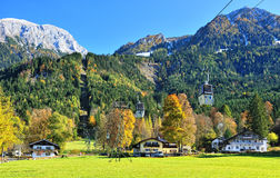 Cable cars in Eastern Alps near Konigssee lake. Alps mountain landscape in autumn season. Bertechgaden natural park from Bavaria region in Germany stock photography